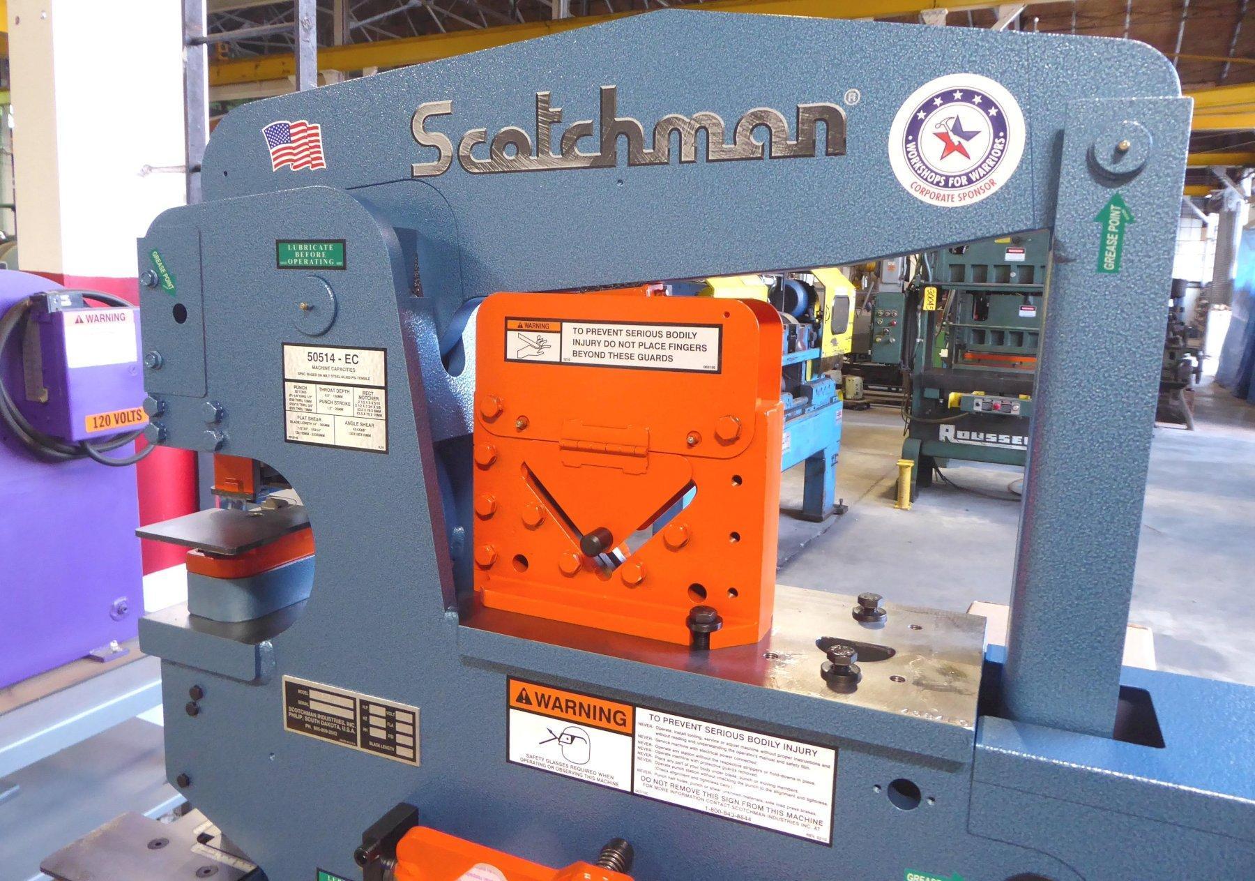 """4"""" x 4"""" x 3/8"""" SCOTCHMAN Hydraulic Ironworker, No. 50514-EC, 50 Ton, Punch, Bar Shear, Notcher, New, In Stock"""