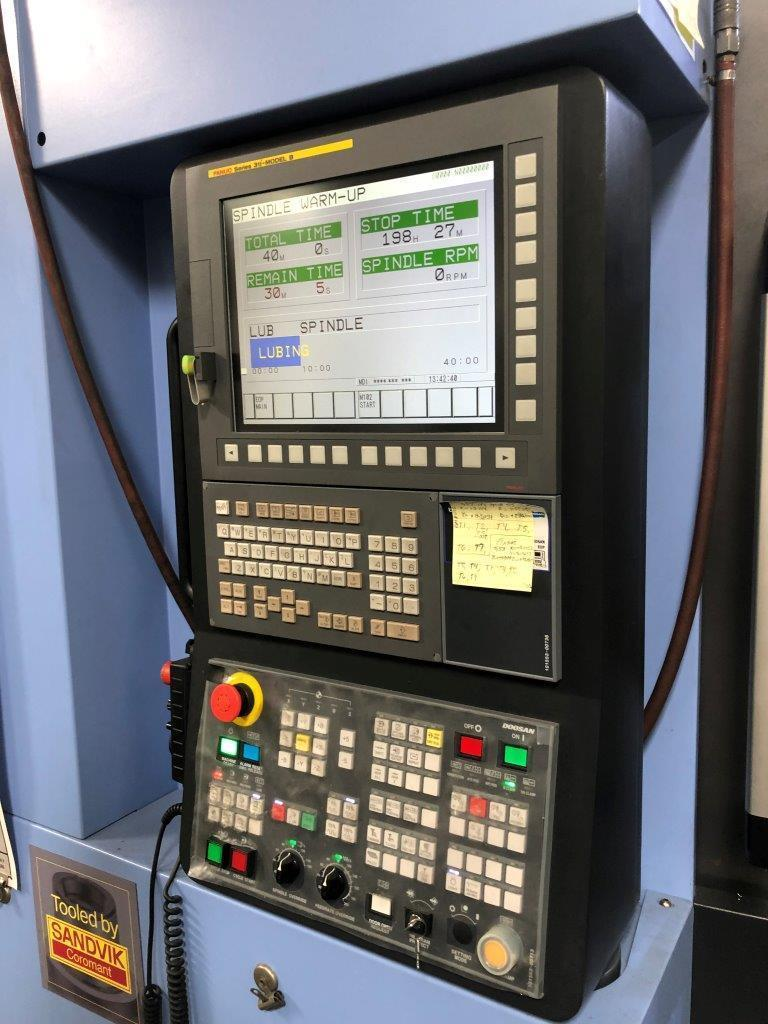Doosan NHP 4000 HMC 2017, Fanuc 31i-B CNC Control, 15,000 RPM Spindle, Full 4th Axis, Renishaw Probing System, 60 ATC, Chick Work Holding, Through Spindle Coolant, and Chip Conveyor.