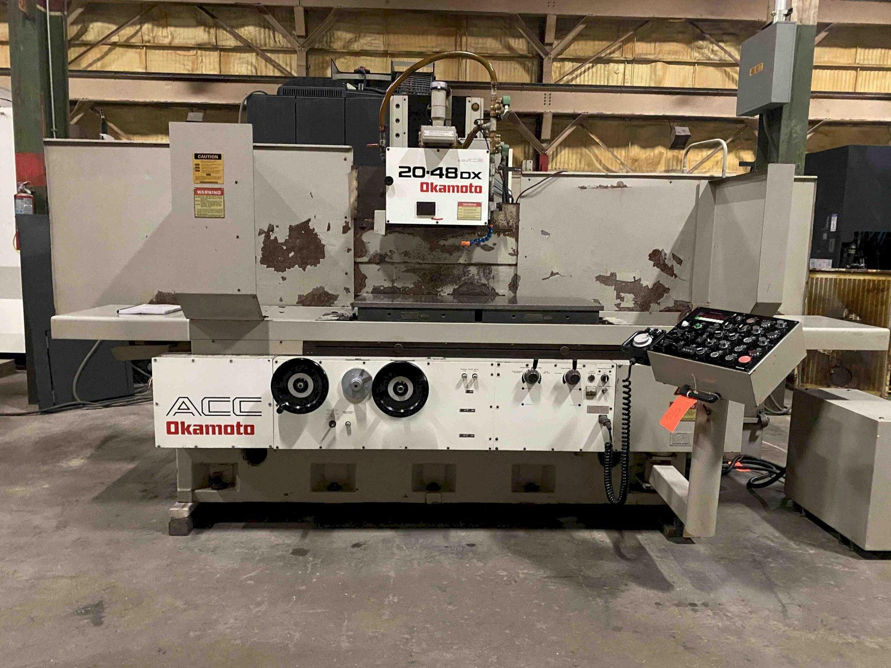 Okamoto ACC20-48DX, DX Control w/LED Display, Incr Downfeed, OTW Hyd Dresser, Sparkout, Rough/Fine Finish, Plunge, Coolant, Ballscrew on Vertical, 20 HP,  20
