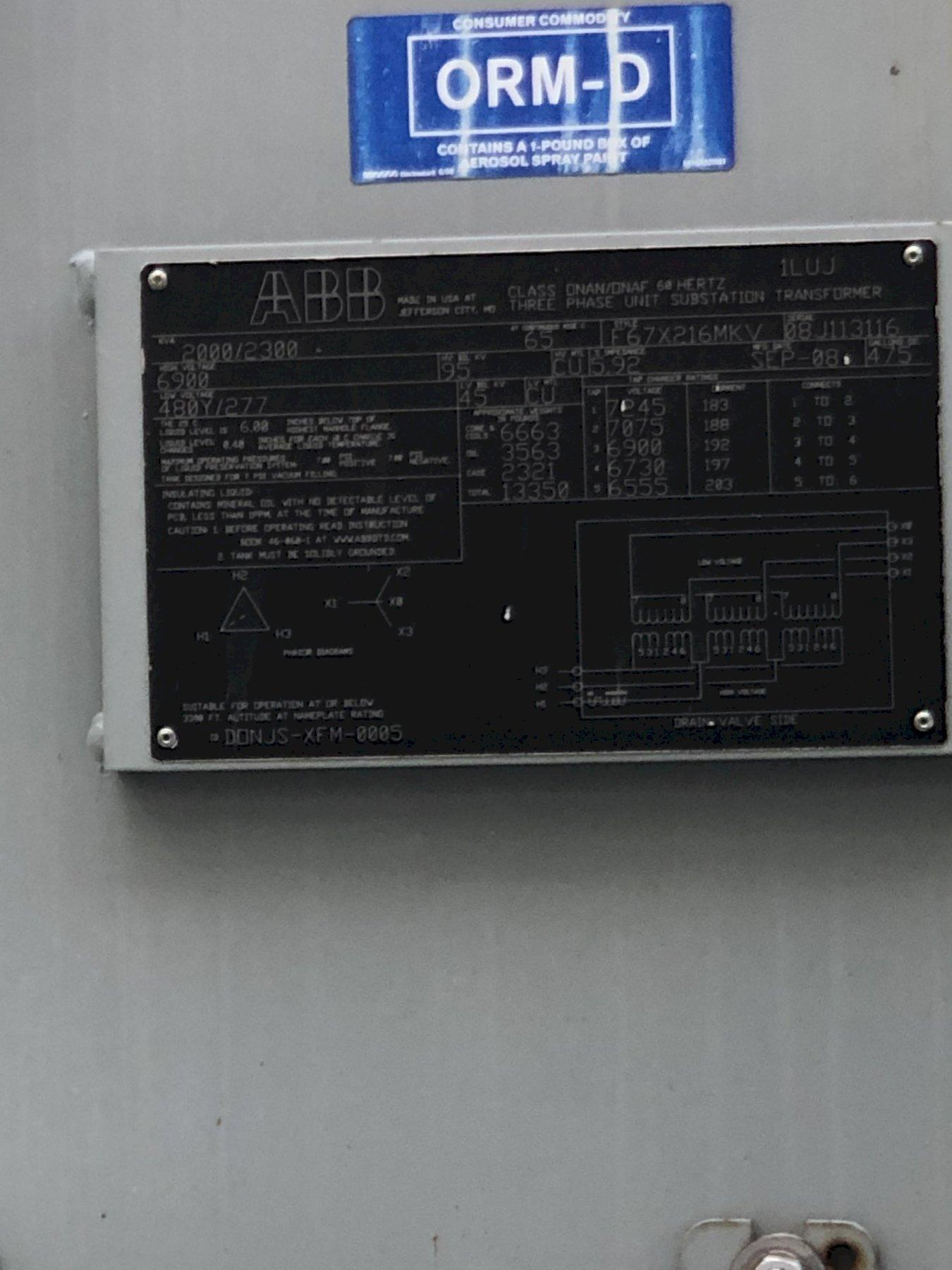 # 5 2008 ABB 2000/2300 kva transformer s/n 08j113116 rated at 6900 primary volts with 5 taps, 480y/277 secondary volts