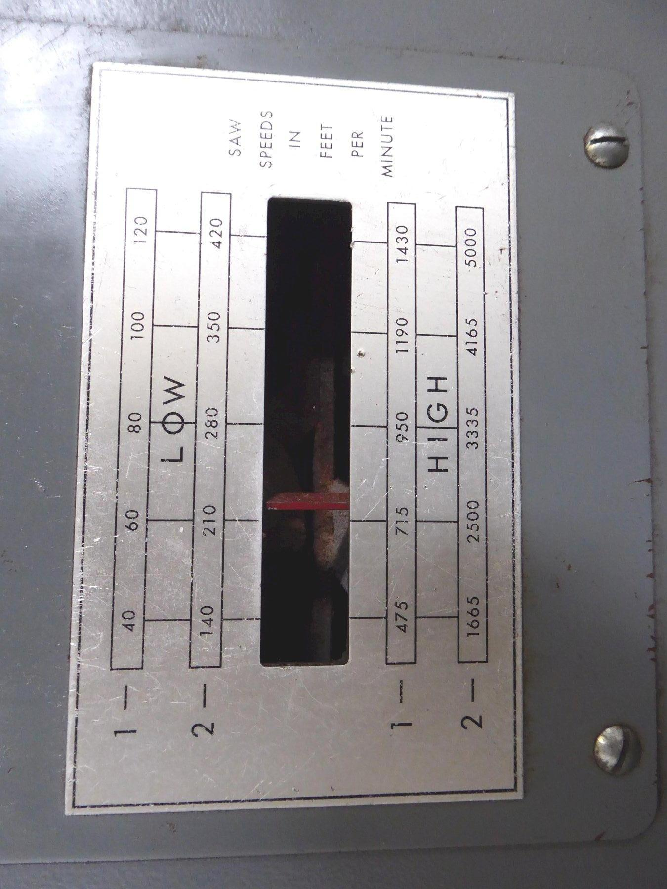 "24"" Grob Vertical Band Saw No. 4V-24, Air-Hydraulic Table Feed, 40-5000 FPM, 28"" x 24"" Tbl., 12"" Under Guide, Clean"