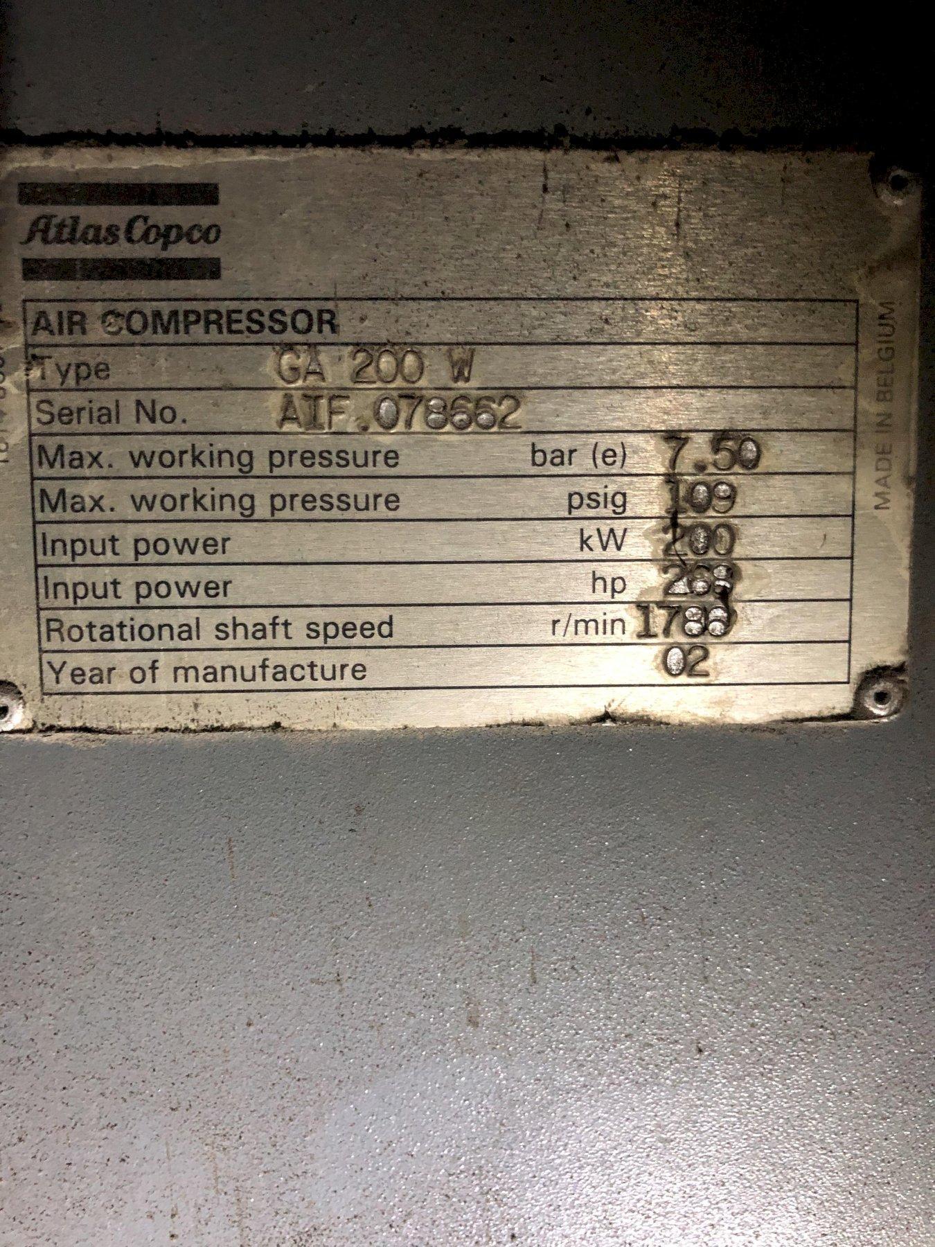 2002 Atlas Copco model ga200w 268 hp screw type air compressor s/n aif.078662