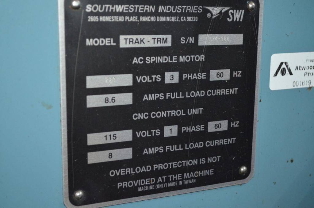 SOUTHWEST INDUSTRIES SWI MODEL #TRAK TRM WITH PROTOTRAK MX2 CNC CONTROL VERTICAL MILLING MACHINE. STOCK # 1903520