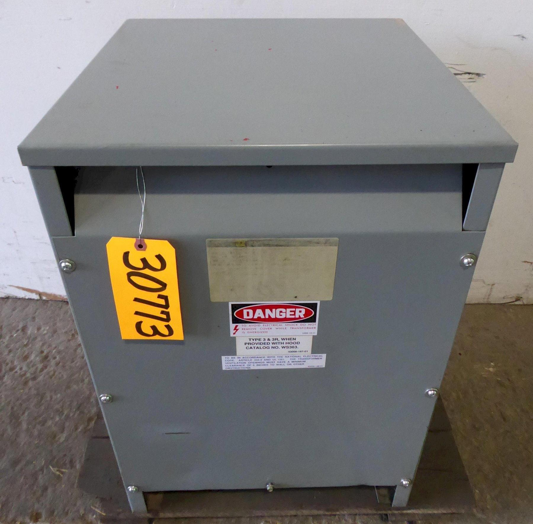 45 KVA Square D Transformer No. 45T6H, H.V: 480, L.V.: 240, 3 Phase