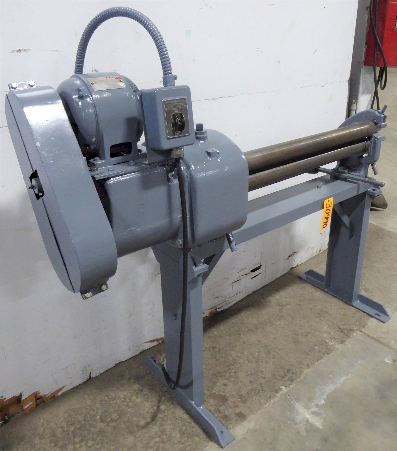 "3' x 14-16 Ga. Niagara Power Bending Roll, 3"" Dia. Rolls, Initial, 1 HP"