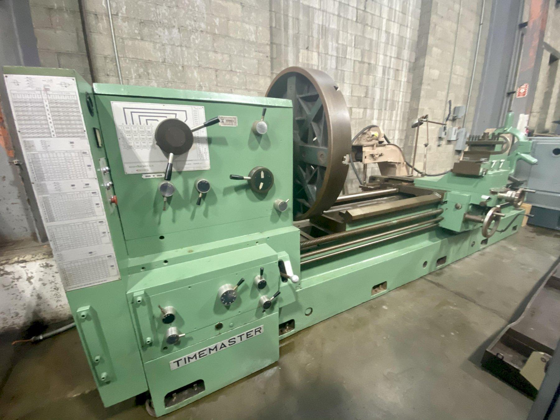 """40""""/56"""" x 120"""" TIMEMASTER GURUTZPE, Model Super AT, 44"""" 4-Jaw Chuck, 40"""" Swing Over the Bed, 56"""" Swing in the Gap, 28"""" Swing Over the Cross Slide, 120"""" Centers, Inch/Metric Threading, Taper Attachment, New 1982."""