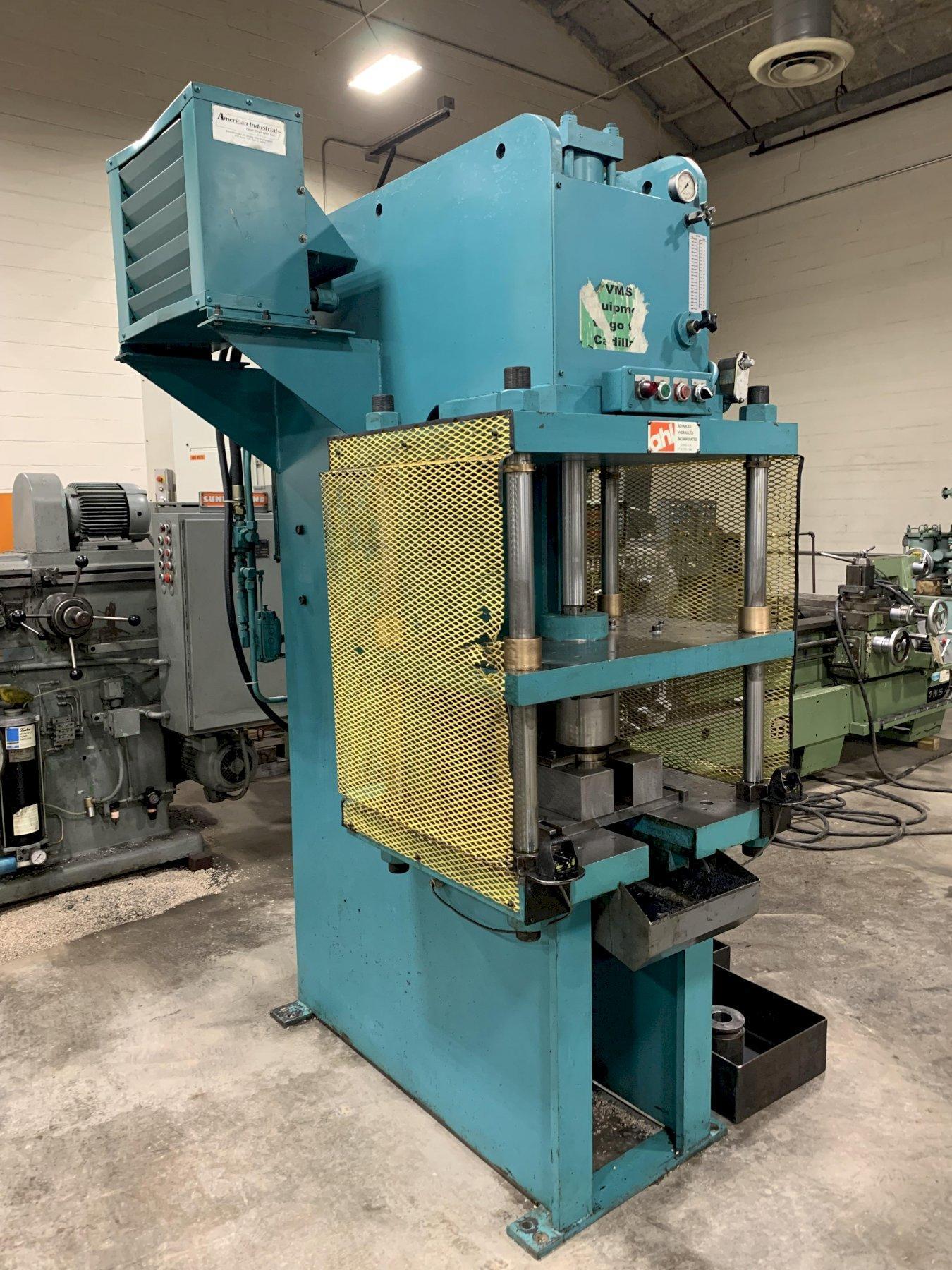 """20 Ton Advanced Hydraulics Model CFT-20 Floor Type C-Frame Hydraulic Press 21"""" DL. 12"""" Stroke. Inching. Dual Palms 1989"""