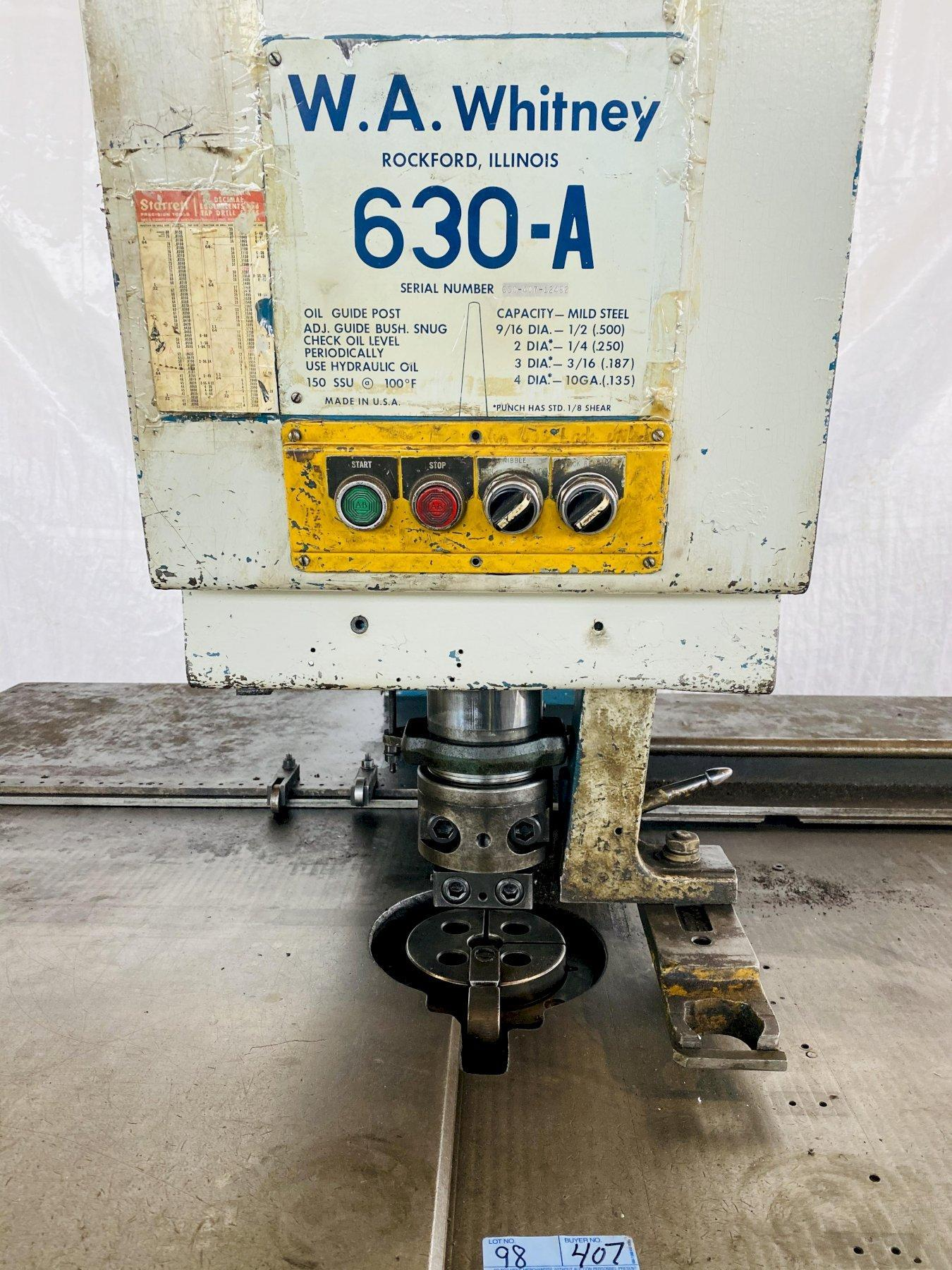 W.A. WHITNEY 630A 30 TON HYDRAULIC SINGLE STATION DUPLICATOR/FABRICATOR PUNCH. STOCK # 0950520