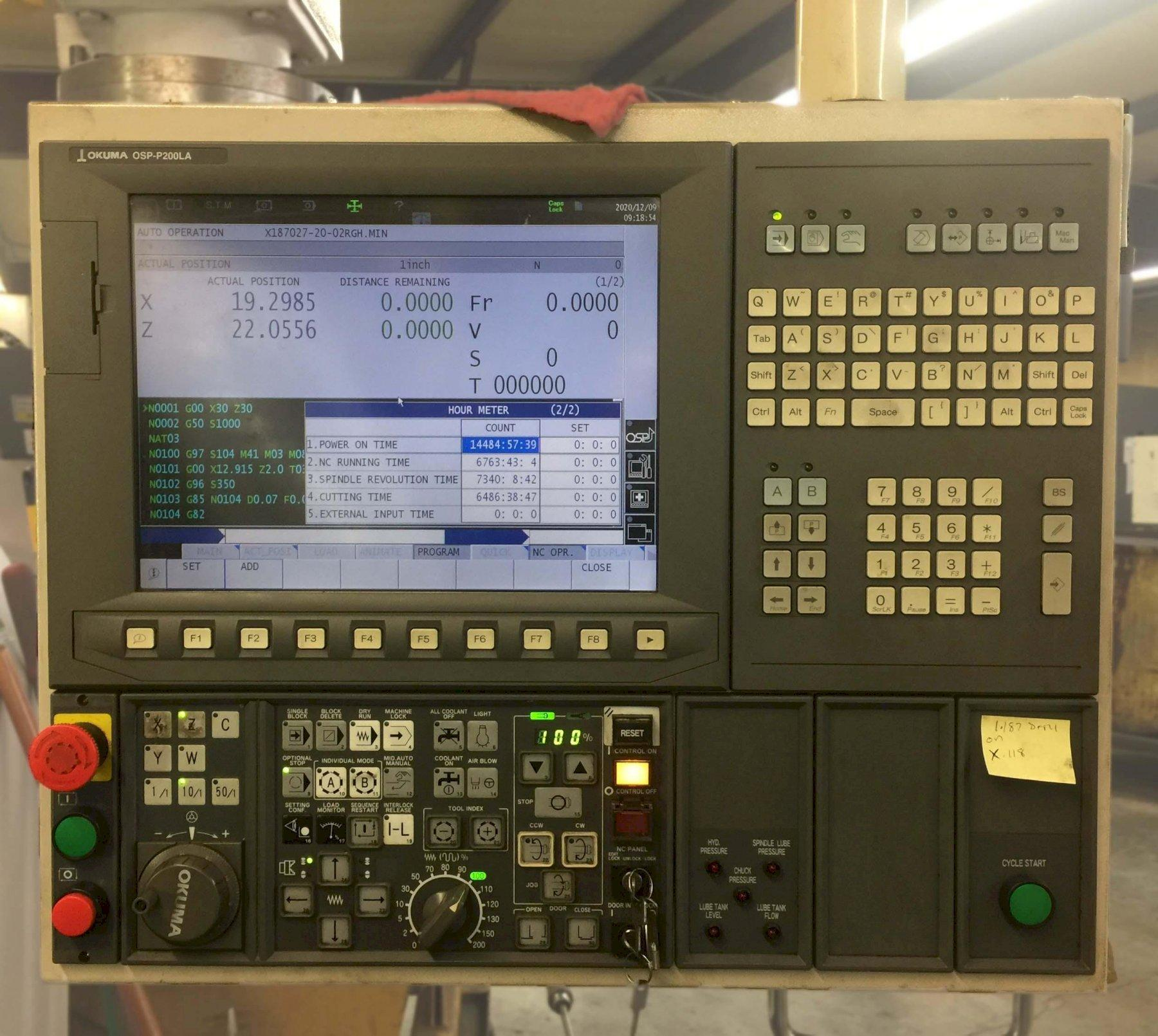 """OKUMA LB-35II/C850, OSP -200L CNC Control, 15"""" Hydraulic Chuck, 27.5"""" Max Swing, 36"""" Between Centers, 3.5"""" Bar Capacity, New 2012."""