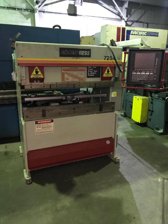 USED 25 TON ACCURPRESS HYDRAULIC PRESS BRAKE, Model 7-25-4, 25 Ton x 4', Stock No. 9953