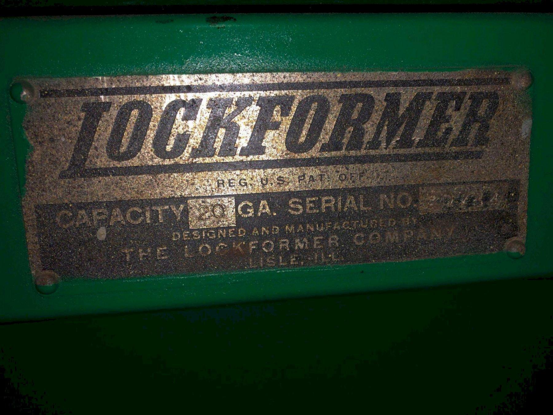 20 GA PITTSBURGH LOCKFORMER MACHINE. STOCK # 0414221