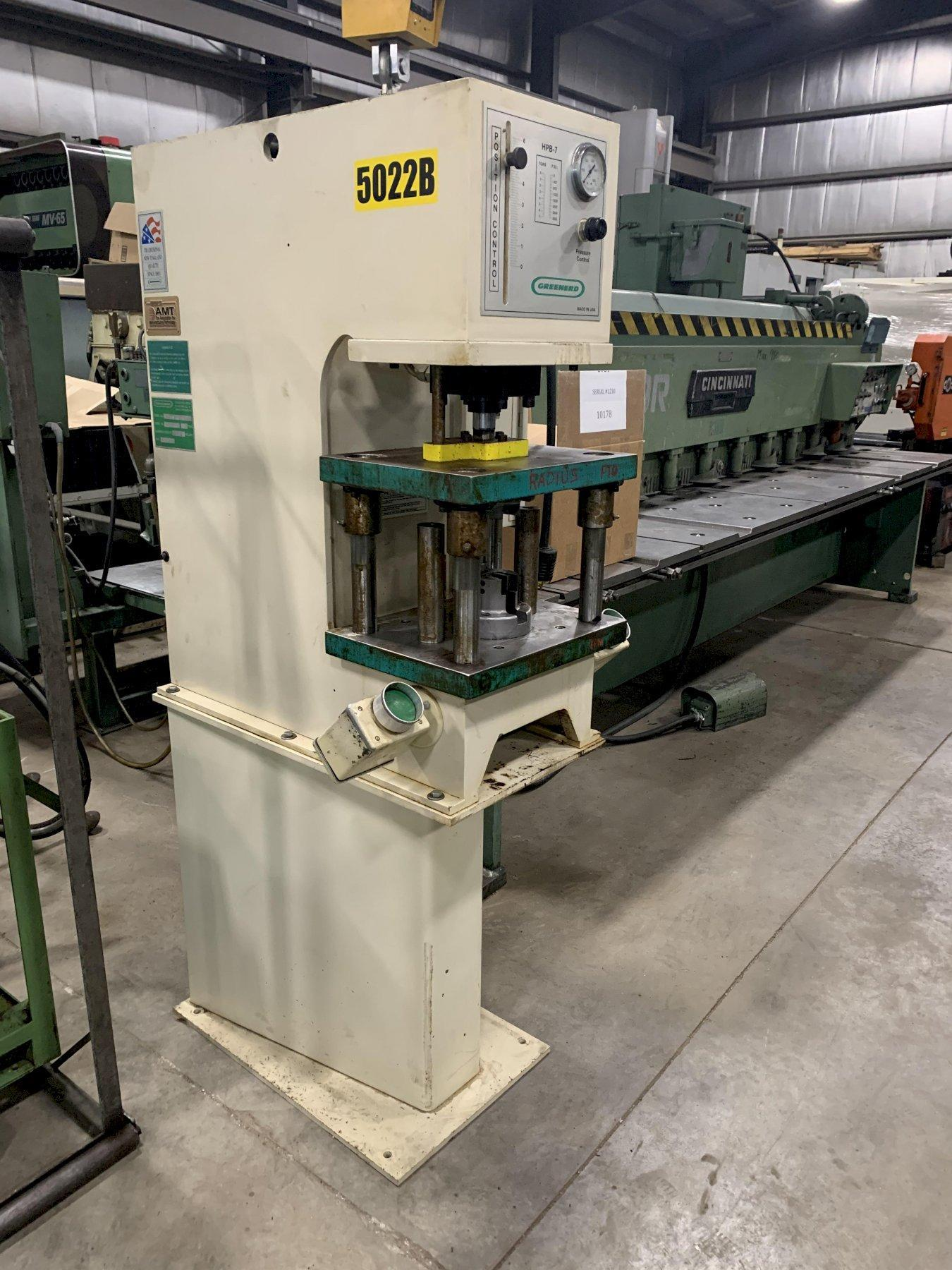 """7 TON GREENERD, MODEL HPB-7, 6"""" STROKE, C FRAME WITH STAND, 1998"""