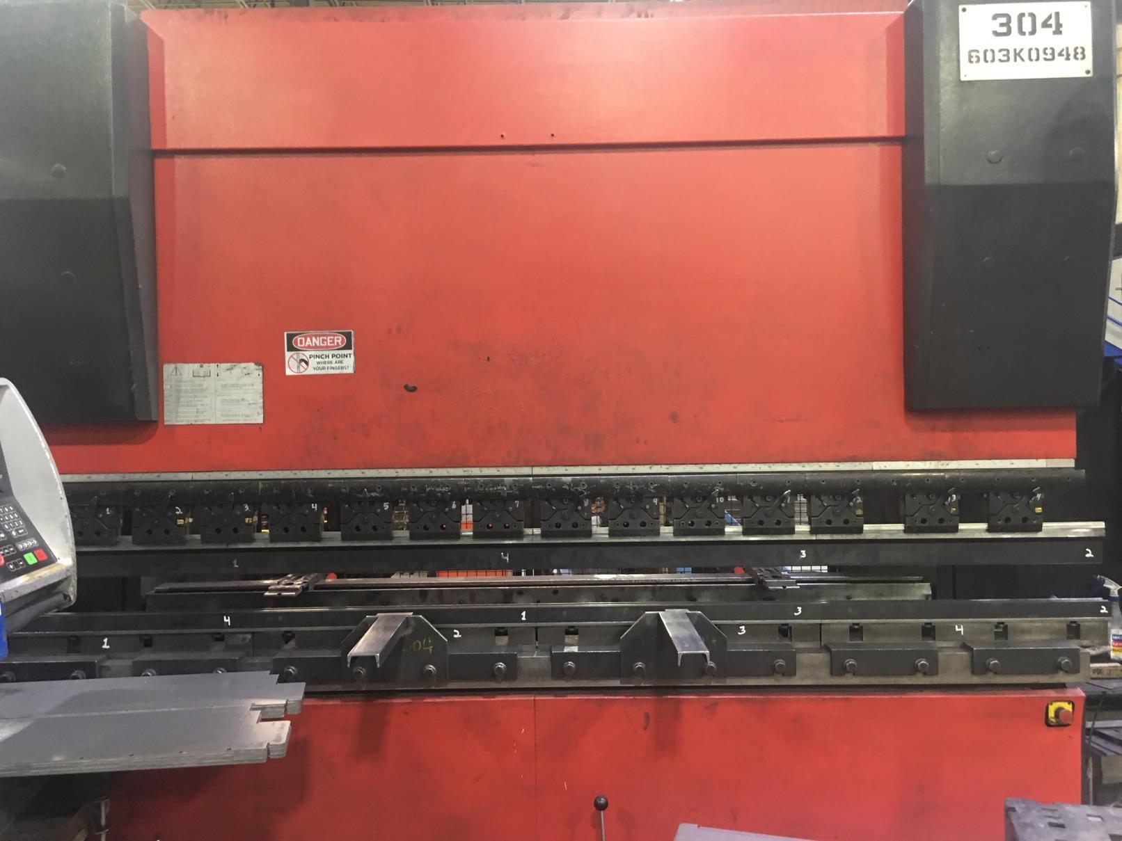 USED AMADA 187 TON X 10' MODEL HFE 1703S 6-AXIS HYDRAULIC DOWNACTING CNC PRESS BRAKE, Stock# 10730, Year 2004