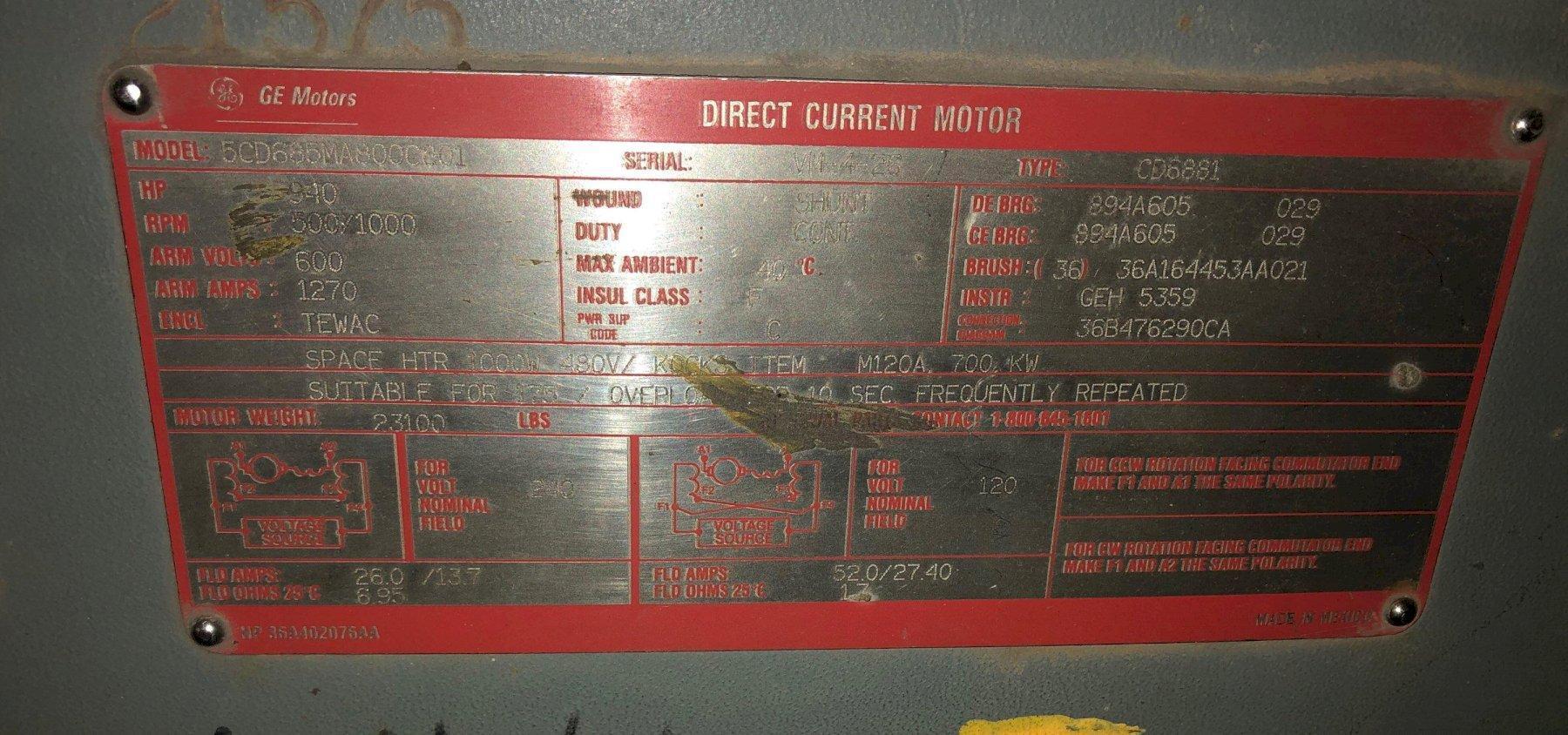 940 HP GE ELCTRIC MOTOR