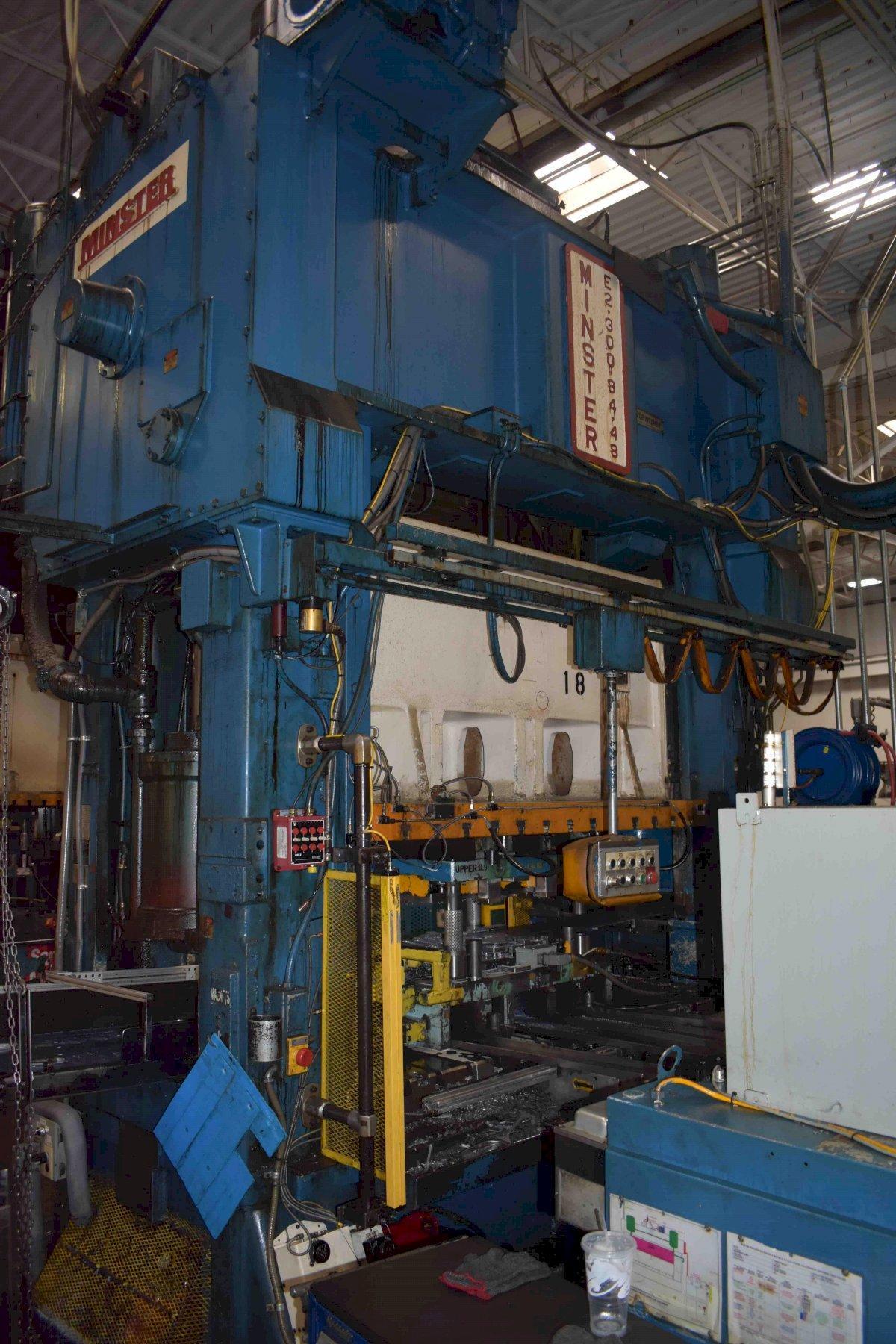 "300 Ton Minster SSDC Press, Model E2-300-84-48, 10"" STR, 30"" SH, 6"" ADJ, 84"" x 48"" BA, 24"" WDO, 0-90 SPM, 1990, Feed Line"