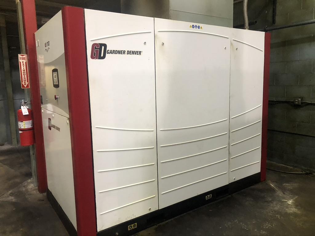 110 KW GARDNER DENVER ROTARY SCREW AIR COMPRESSOR, MODEL VS110, VARY SPEED, 460V, 2008