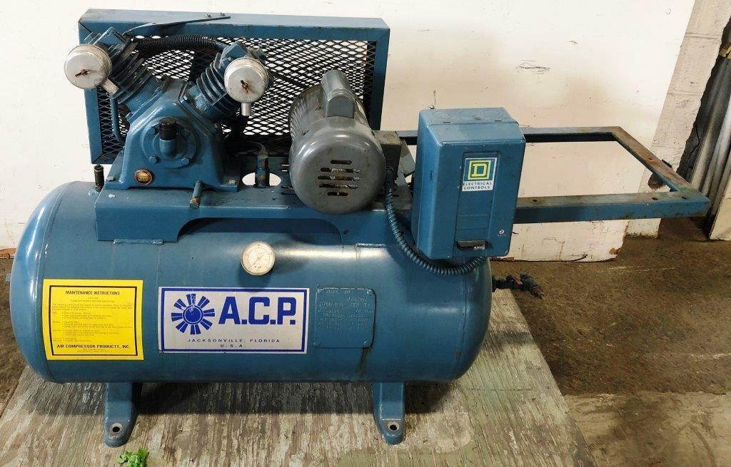 3/4 HP A.C.P. Air Compressor, 3 CFM @ 90 PSI, 30 Gallon Horizontal Tank, 1 Phase