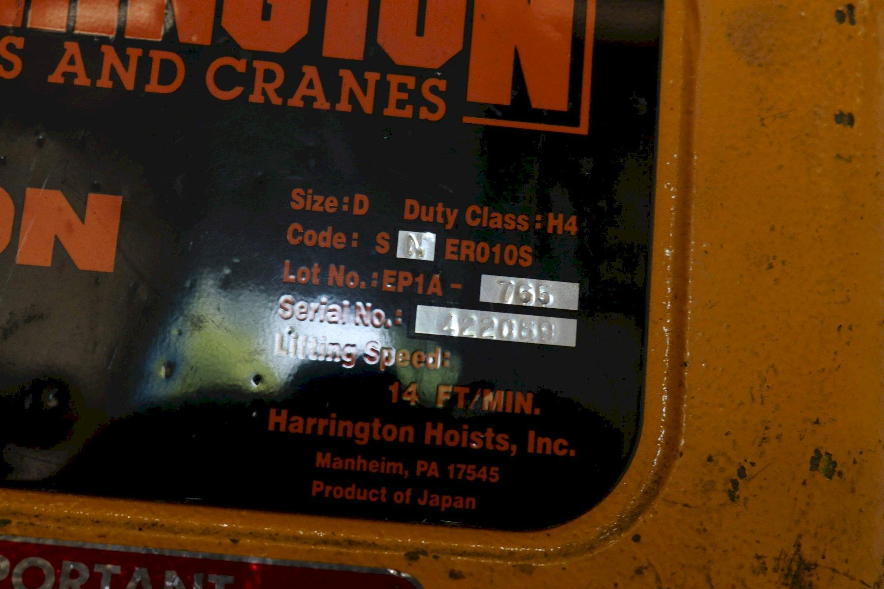 1 TON HARRINGTON SINGLE PHASE ELECTIC CHAIN HOIST: STOCK #69517