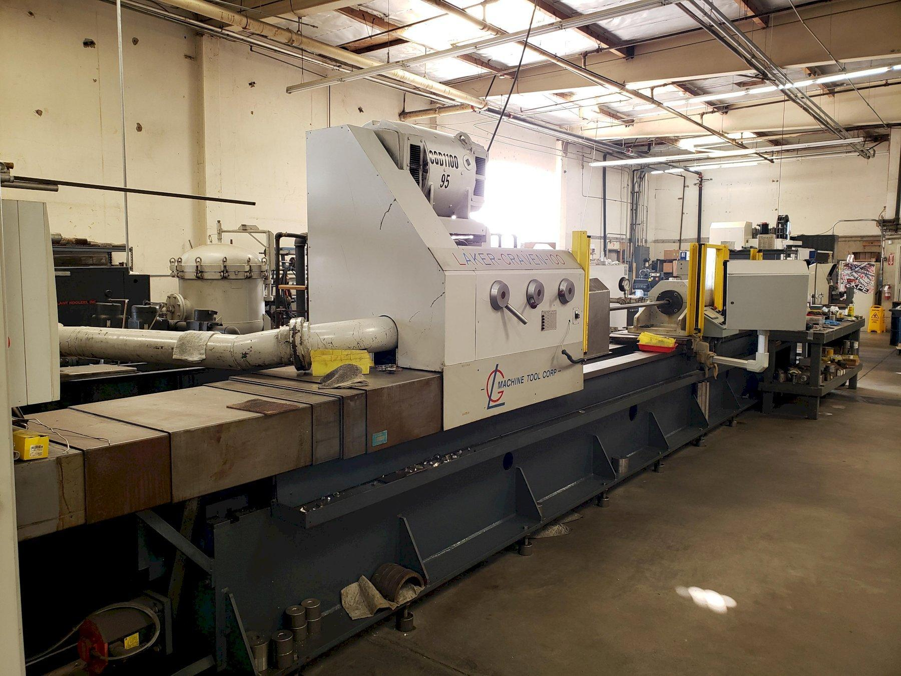 Laker-Craven 100 Deep Hole Drilling Machine with: Fanuc Panel Mate Control, Chiller, Magnetic Filter, Safety Fence, BTA Tooling, Boring Bars, and Chip Conveyor.