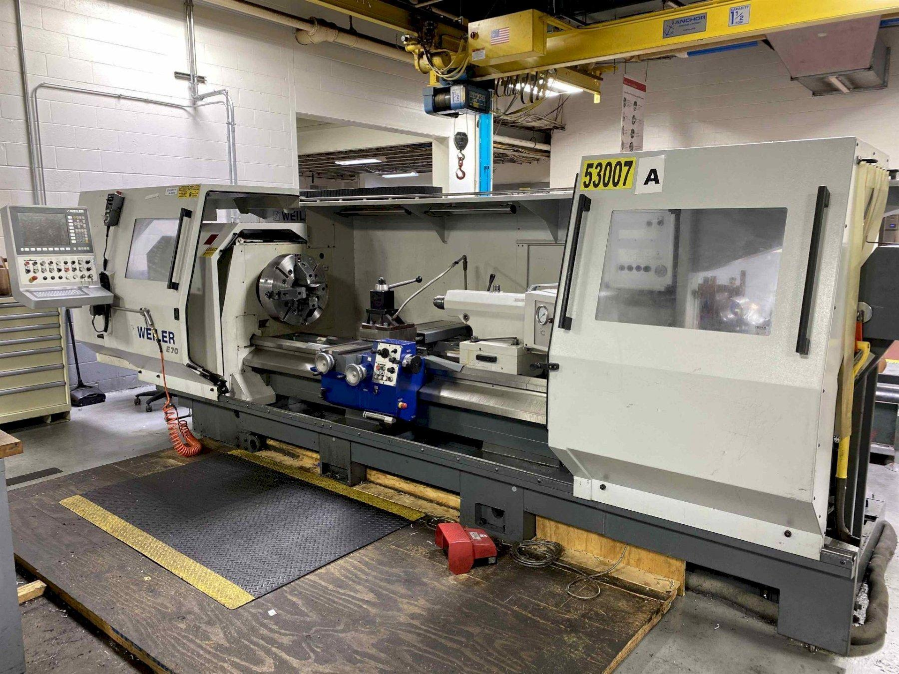 """WEILER E70 x 2000, Siemens 840D CNC Control  20"""" 3-Jaw Chuck, 6"""" Spindle Bore, 28"""" Max Swing, 80"""" Between Centers, Hydraulic Quill, Aloris Tool Post, 48 HP  Motor, New 2015."""