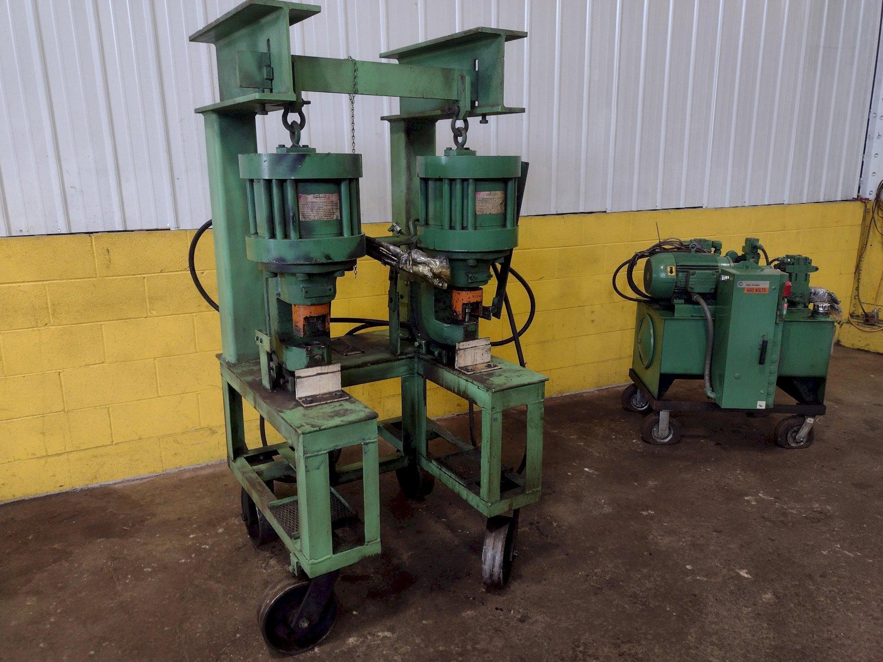 (2) 100 TON PEDDINGHAUS PORTABLE HYDRAULIC PUNCHES WITH HYDRAULIC UNIT: STOCK #15152