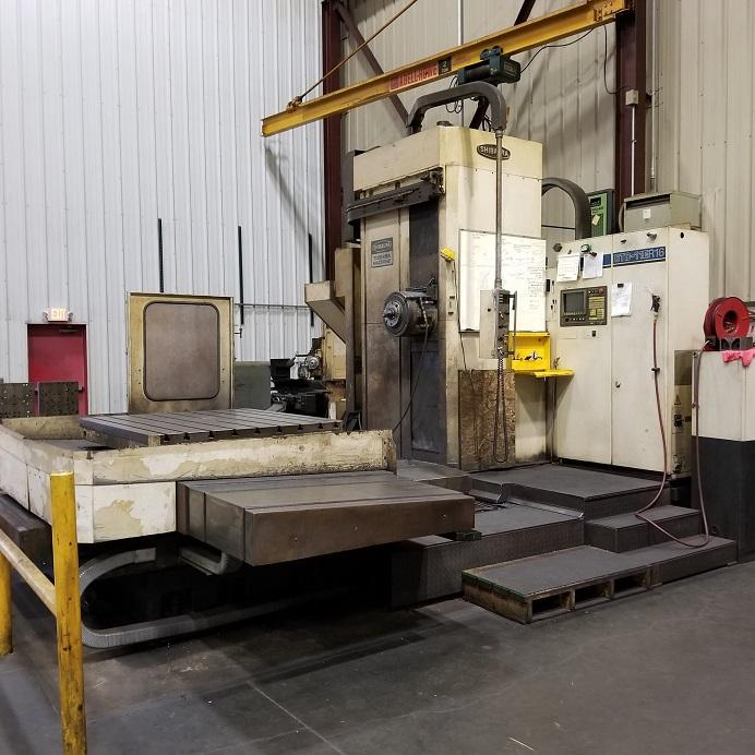"4.3"" Toshiba BTD11ER16 CNC Horizontal Boring Mill, Tosnuc 777, 79""/59""/57"" Travels, 20"" Quill, Scales on All Axis, Full Table Guarding, Chiller, Chip Conveyor, 1992"