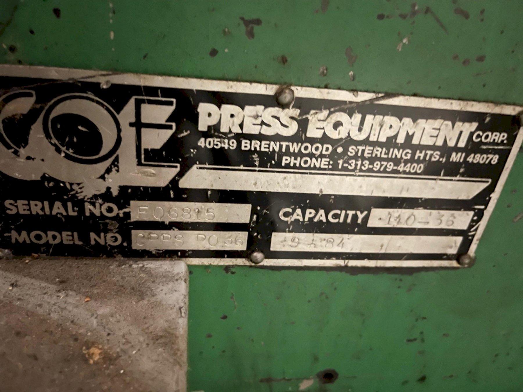 "36"" Coe Press Equipment Powered Straightener Model# CPPS PO 36"
