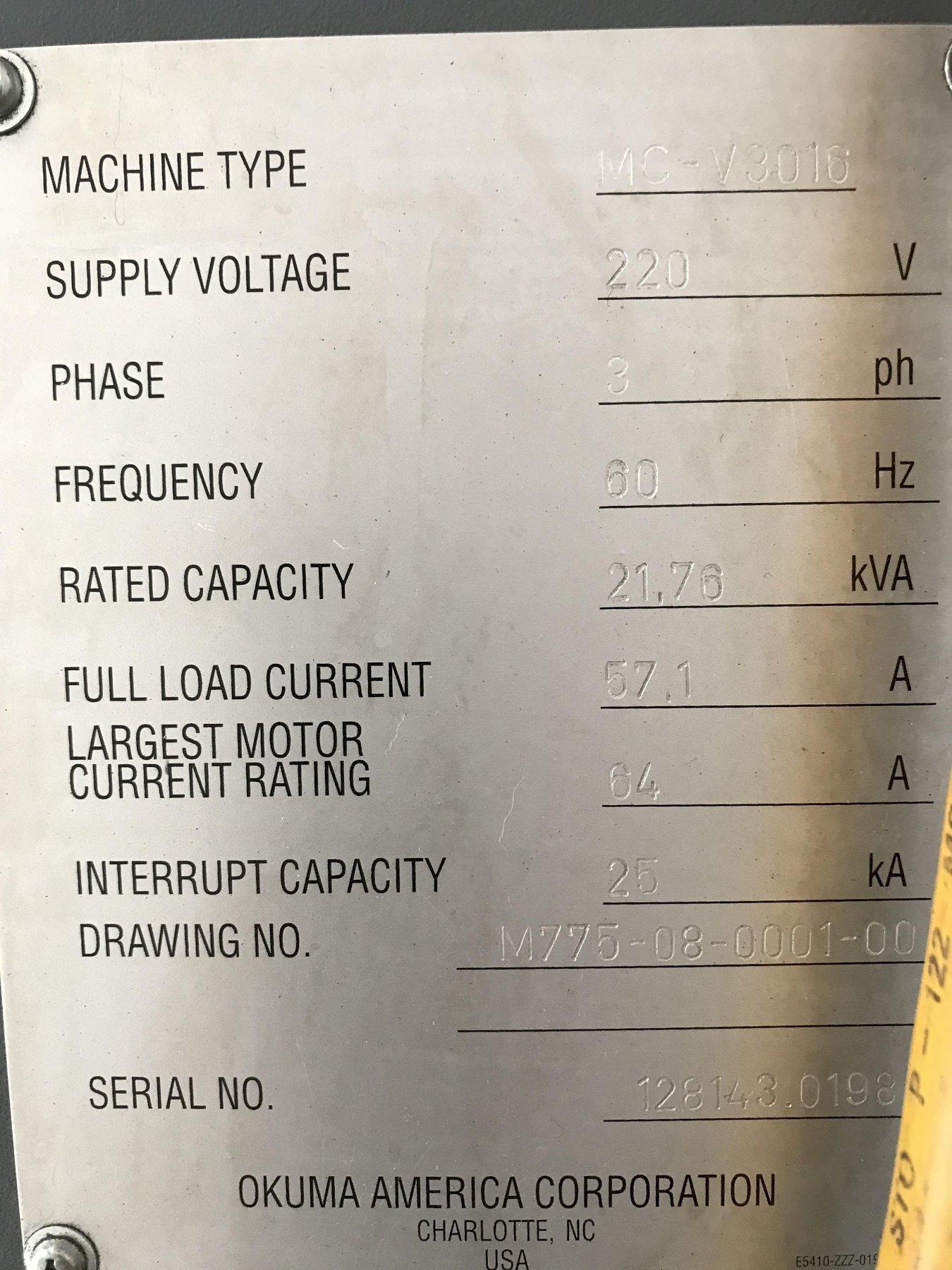 """Okuma MC-V3016 VMC 2006, with: Okuma OSP-P200M CNC Control, 30"""" x 16"""" x 17"""" Travels, 8k RPM, 15-HP Spindle, RJH, Chip Conveyor, and Coolant Tank."""