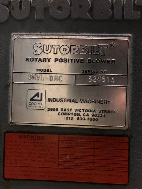 SUTORBILT, POSITIVE DISPLACEMENT BLOWER/VACUUM PUMP 8MVL-BHC  75HP DRIVE