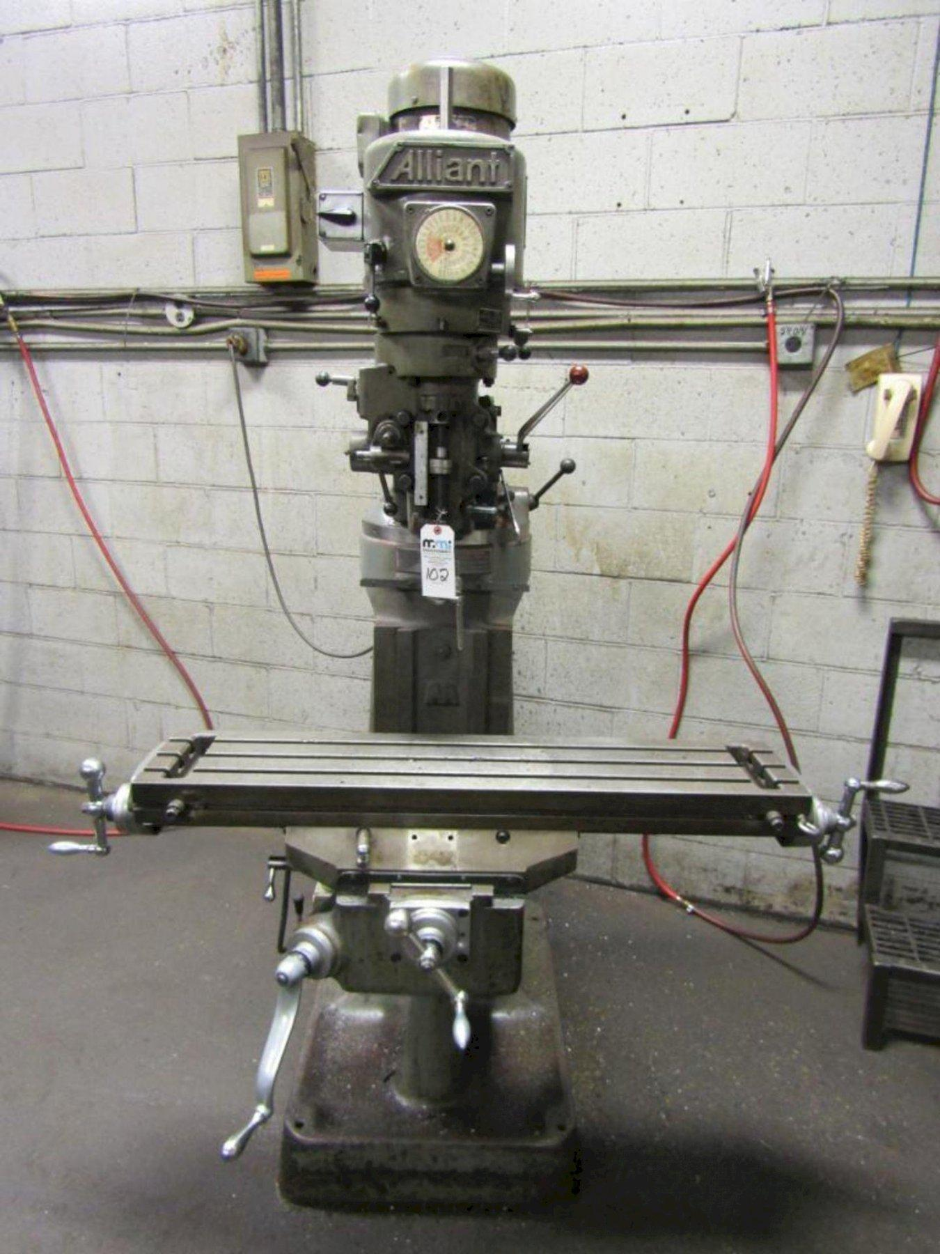 1 - PREOWNED ALLIANT VERTICAL MILLING MACHINE, MODEL #: RT2, S/N 315488