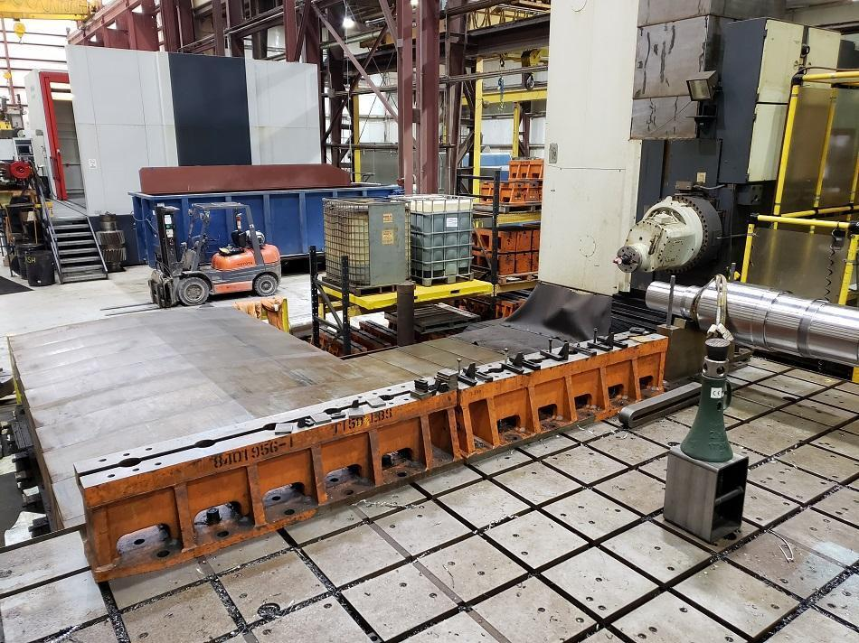 """Ingersoll Master Center, Fanuc 31i CNC Control, 206.6"""" x  118.1"""" Table - 1° Rotation, X-axis Travel  216.54"""", Y-axis (Headstock Vertical)  Travel 149.60"""", Z-axis (RAM Horizontal) Travel 43.30"""", W-axis (Column Horizontal) Travel 149.6"""", B-axis (Nutating Head) Travel ± 95°, Table Load Capacity 50 Tons, Rebuilt & Retrofitted 2013."""
