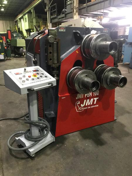 "USED JMT PBH 100 HYDRAULIC PYRAMID STYLE ANGLE ROLL, 4"" X 4"" X 1/2"",  2012, Stock No. 10559"