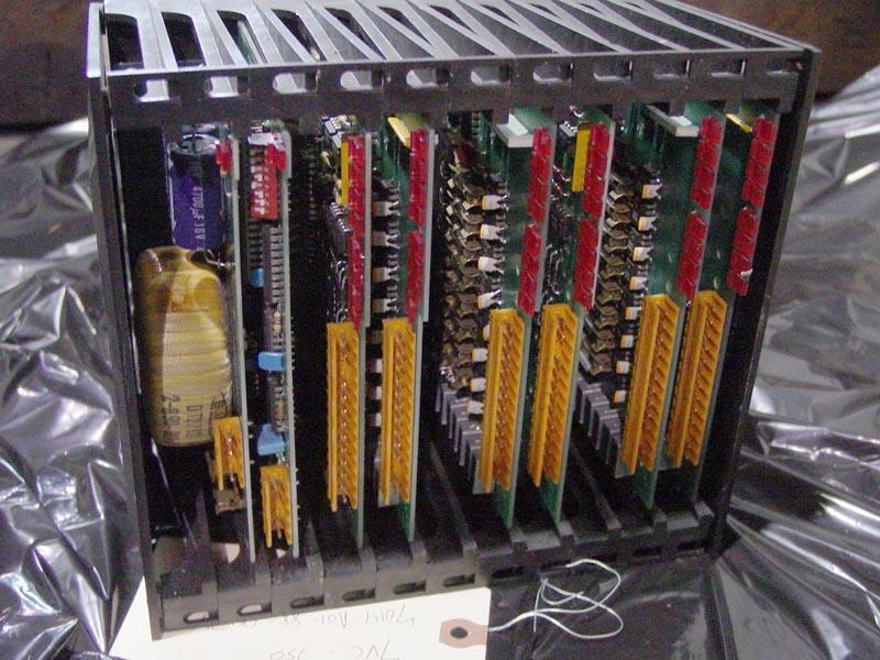Cincinnati Milacron 850 I/O Rack and Cards, CMI Part# 4-424-0518, Boards (1) 4-531-0148A, (2) DCI 4-531-9241A, (4) ACO 4-531-0128, (1) 4-531-0129, (1) 4-531-0127A.