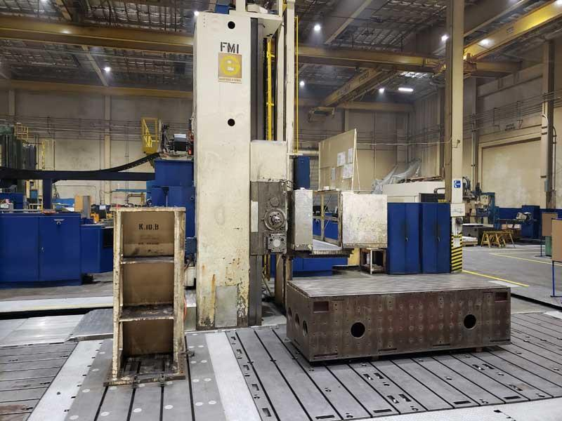 """(2) 6"""" GIDDINGS & LEWIS CNC Floor Type Boring Mills, Model 70-H60-UF, GE CNC Controls, 120"""" x 480"""" Floor Plate, X=480"""", Y=144"""", Z(Quill)=60"""", 120"""" Diameter Infeed CNC Rotary Table, New 1974."""