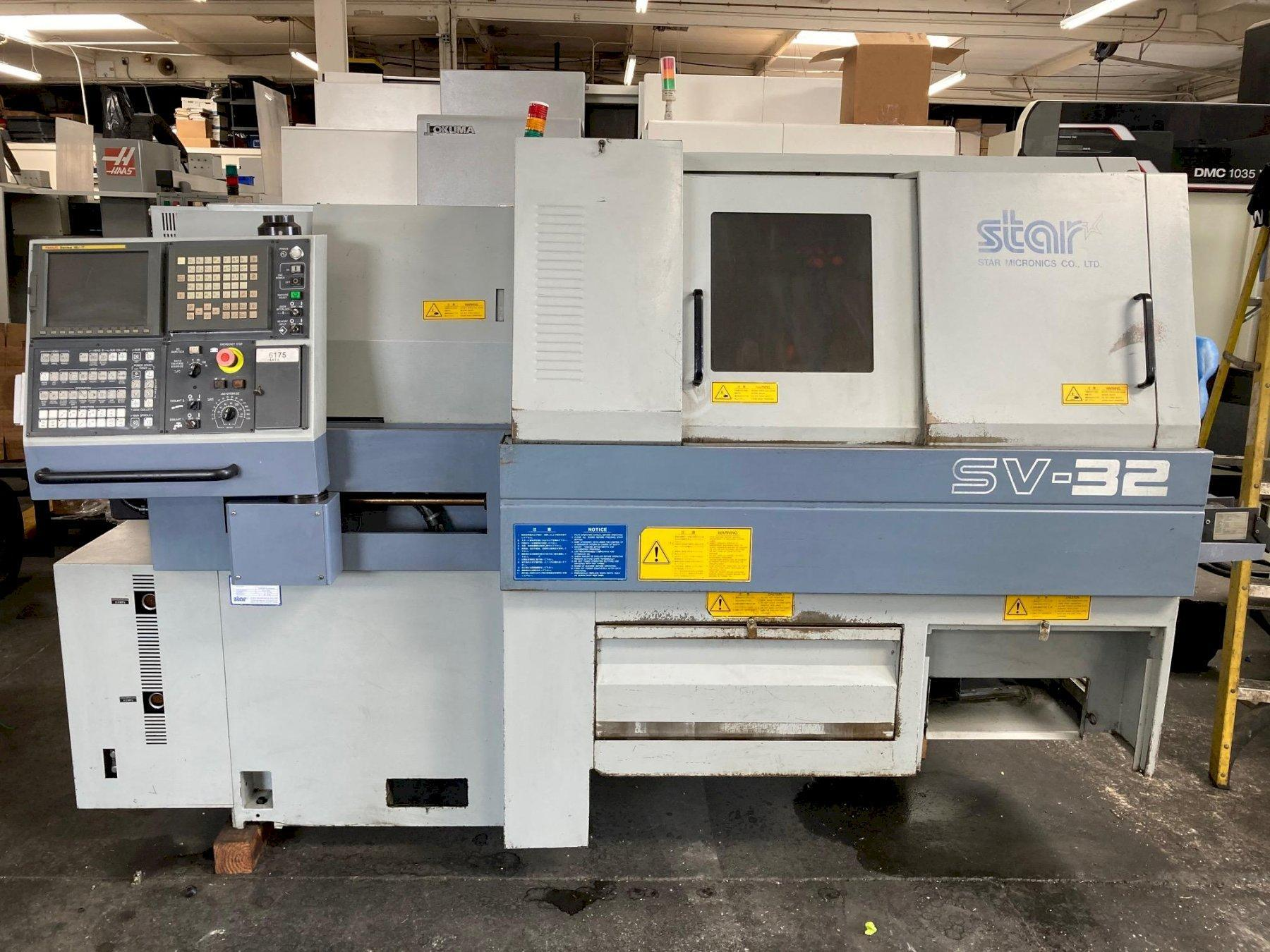Star SV-32 CNC Swiss Lathe with: Fanuc 16i-T CNC Control, LNS Hydrobar Mini Sprint Bar Feeder, Tooling, and Parts Catcher.
