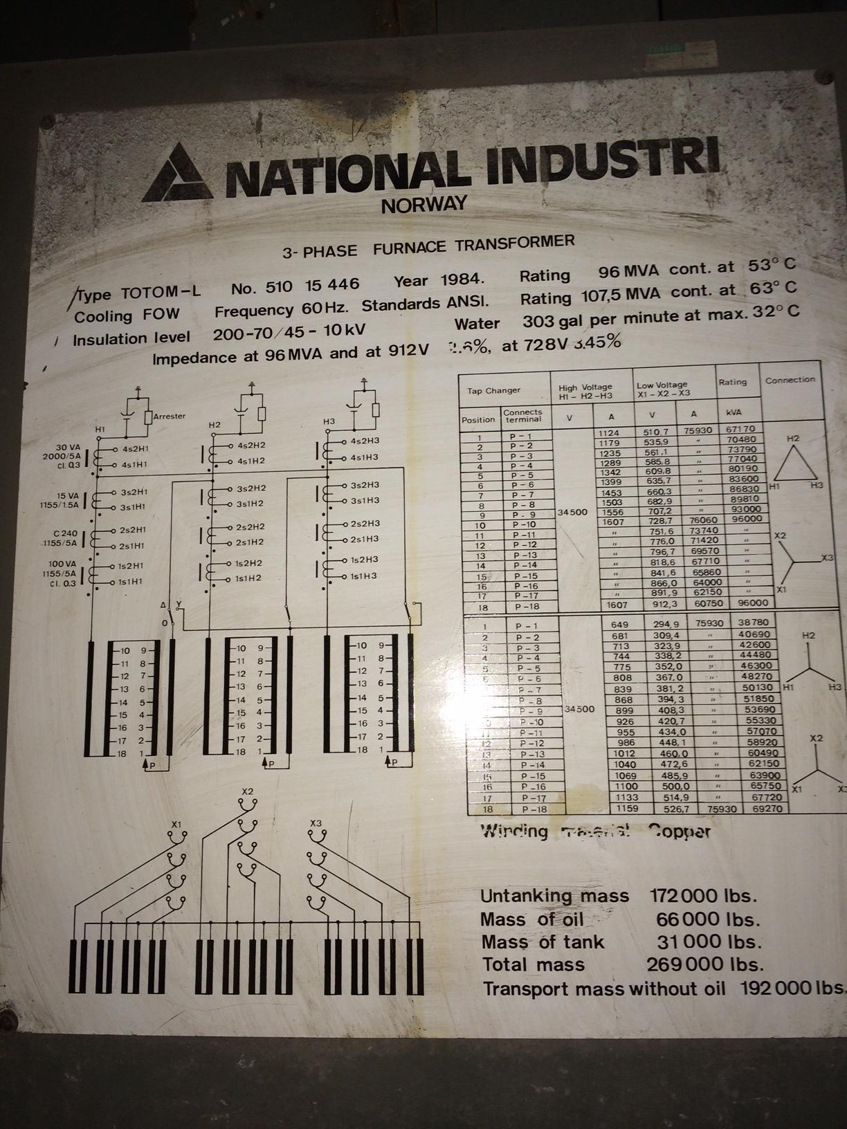 96/107.5 MVA Transformer