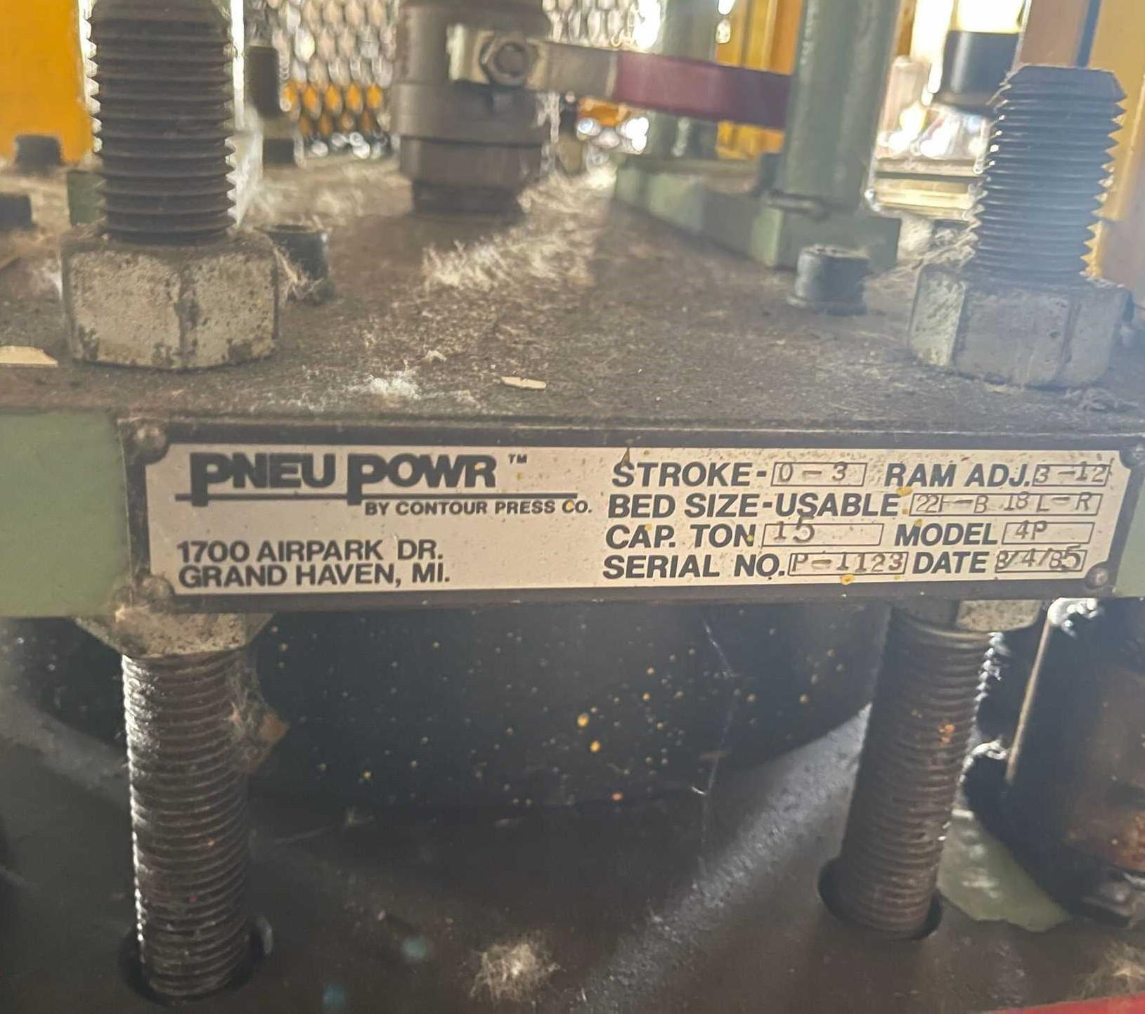 15 TON PNEU POWER PNEUMATIC CUT OFF PRESS. STOCK # 0957421
