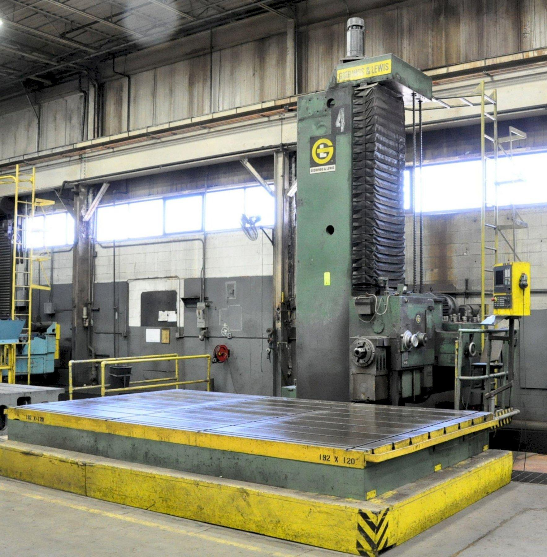 "6"" Giddings & Lewis Model 70-H6-UF3X, Floor Type CNC Horizontal Boring Mill, S/n 425-35-68, 180"" x 96"" Table Size, 192"" X-Axis, 120"" Y-Axis, 48"" Z-Axis, Siemens Controller (Retrofit 2014), Chip Conveyor"