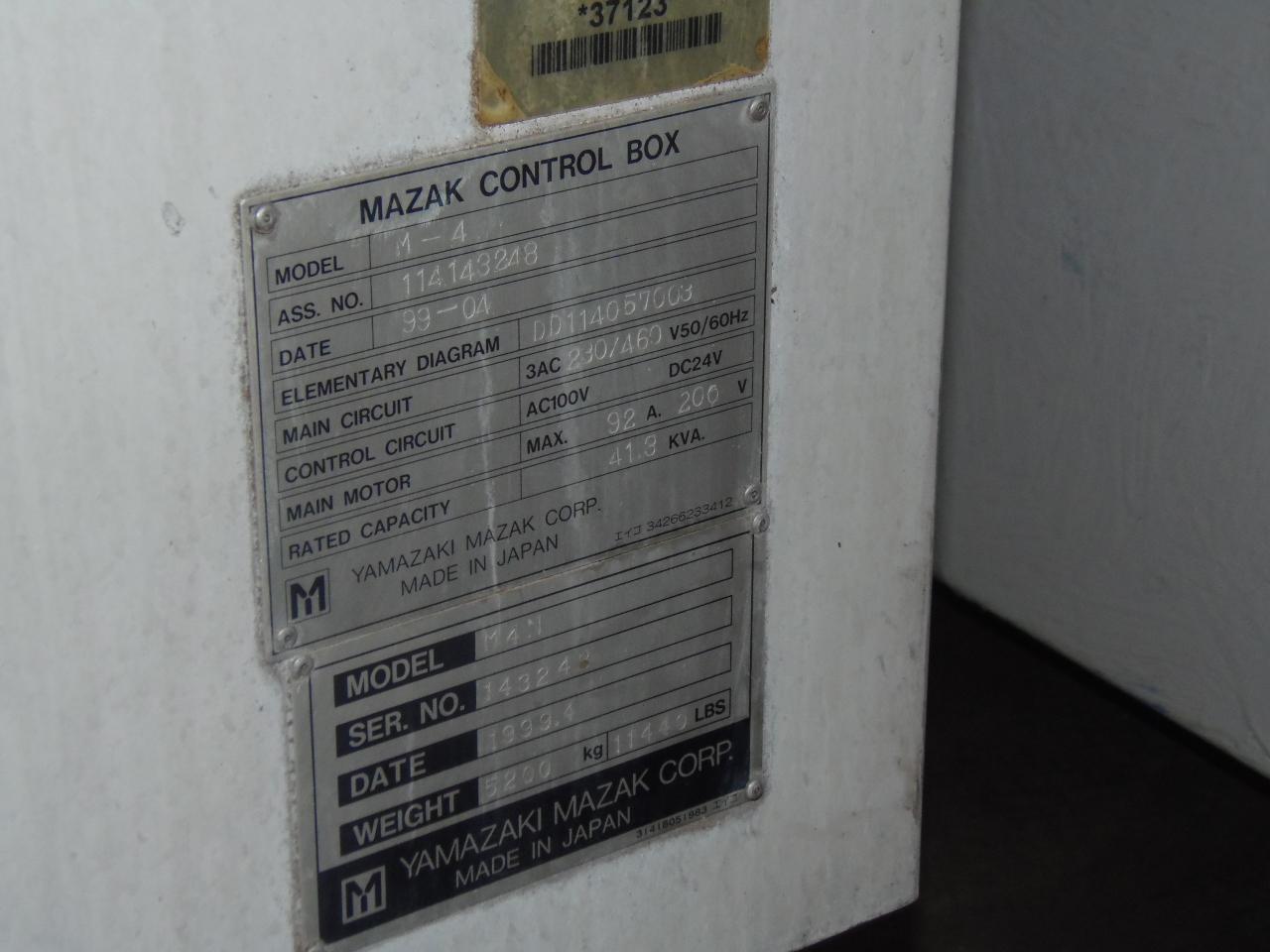 "MAZAK CNC LATHE, MODEL M4N, 22"" SWING, 39.3"" CENTER DIST, FUSION 640 CONTROL, 1999"