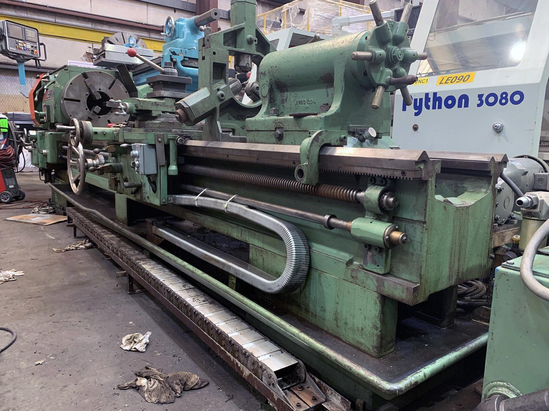 """USED, 27"""" x 120"""" LEHMANN HOLLOW SPINDLE LATHE WITH 9"""" SPINDLE BORE"""