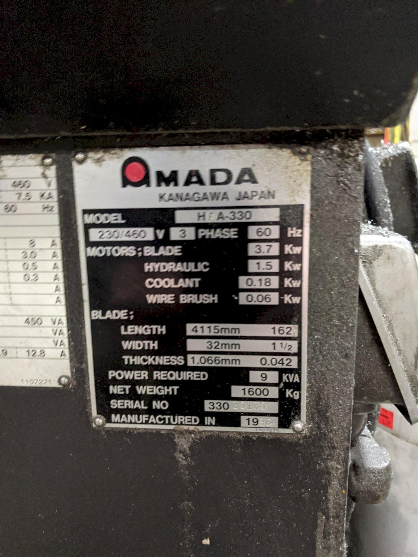 "13"" X 13"" AMADA HFA-330 HORIZONTAL BAND SAW"