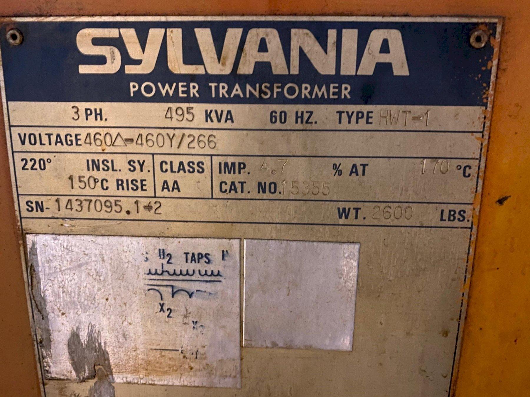 495 KVA SYLVANIA POWER TRANSFORMER. STOCK # 1059320