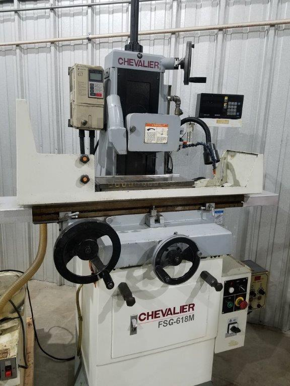 6″ x 18″ Chevalier Surface Grinder No. FSG-618M, Hand Feed, Elect. Chuck, Vari-Speed Spindle, DRO, Coolant/Dust Collector, Out Of Government Facility