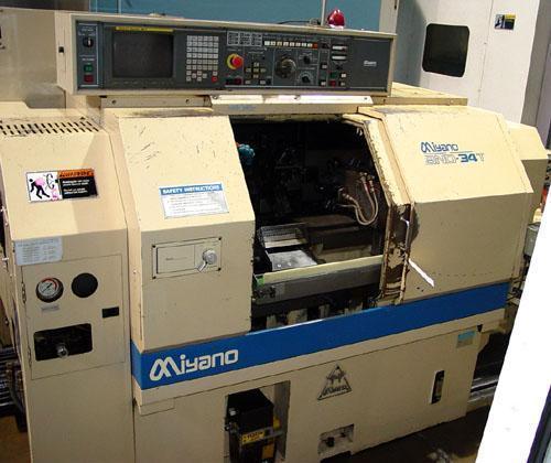 "MIYANO BND-34T, Fanuc 18T CNC Control, Live Tooling, Sub Turret, Collet Chuck, 5"" 3-Jaw Chuck, 1.3"" Bar Capacity, 1997."