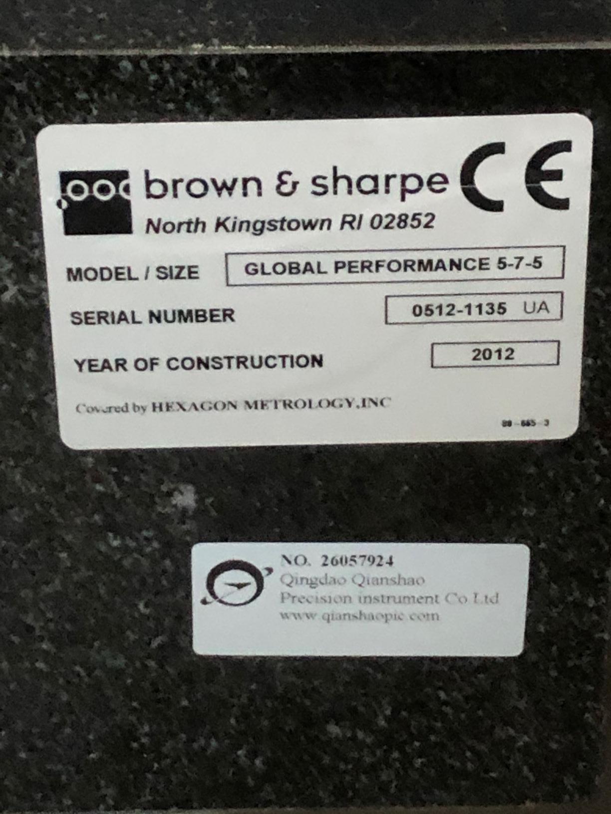 BROWN & SHARPEBrown & Sharpe Global Performance 5/7/5 Coordinate Measuring Machine (CMM)