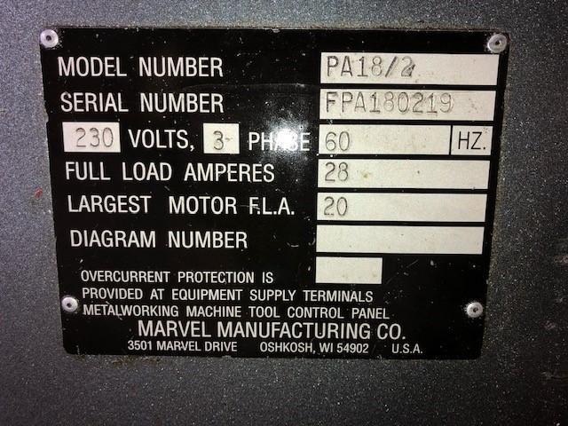 "18"" X 18"" Marvel Spartan  PA18/2 Horizontal Band Saw"