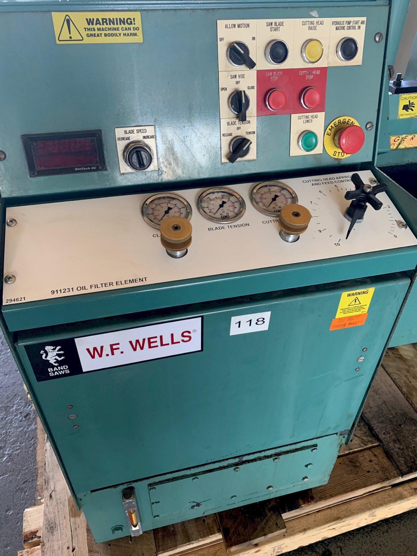 USED W.F. WELLS SEMI-AUTOMATIC DUAL POST HIGH SPEED BANDSAW MODEL F-16-2, Stock 10598, Year 2006
