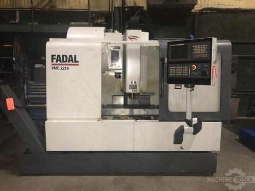 FADAL VMC 2216HT CNC VERTICAL MACHINING CENTER w/Fanuc 18iMBA5, 10K Spindle, 24 Side Mount ATC, 40 Taper, Chip Conveyor, Rigid Tap, 4th/5th Axis Wired, 2006