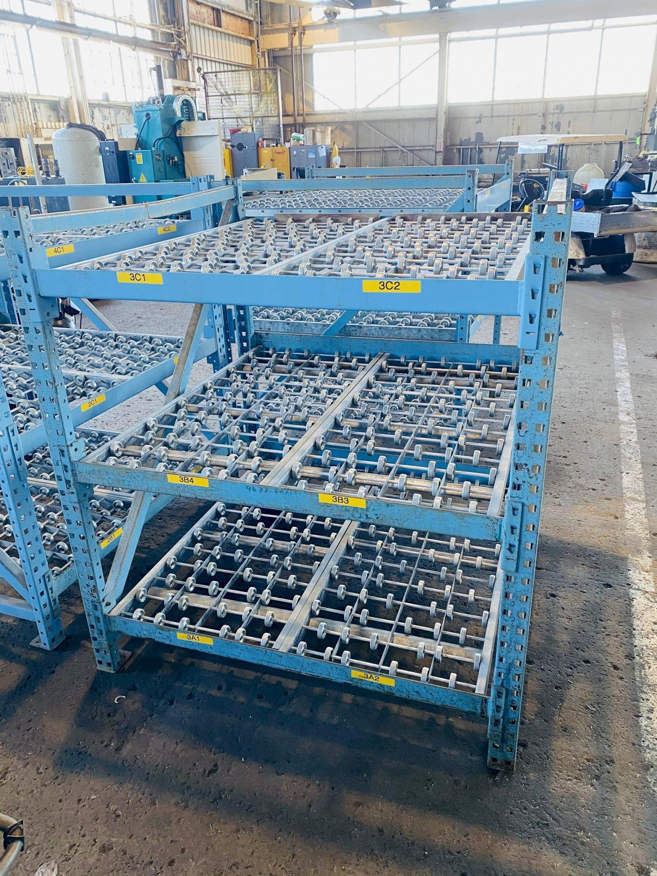 "3 TIER 48"" X 52"" GRAVITY ROLLING RACK. STOCK # 0311921"
