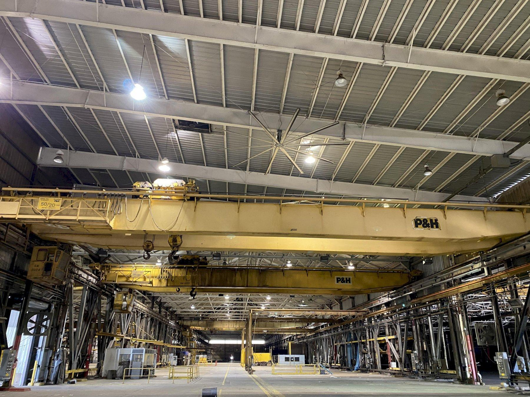 "50 TON X 103'6"" P&H OVERHEAD BRIDGE CRANE WITH 20 TON AUXILIARY. STOCK # 0733420"
